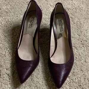 "Michael Kors size 7 aubergine 3"" heels"